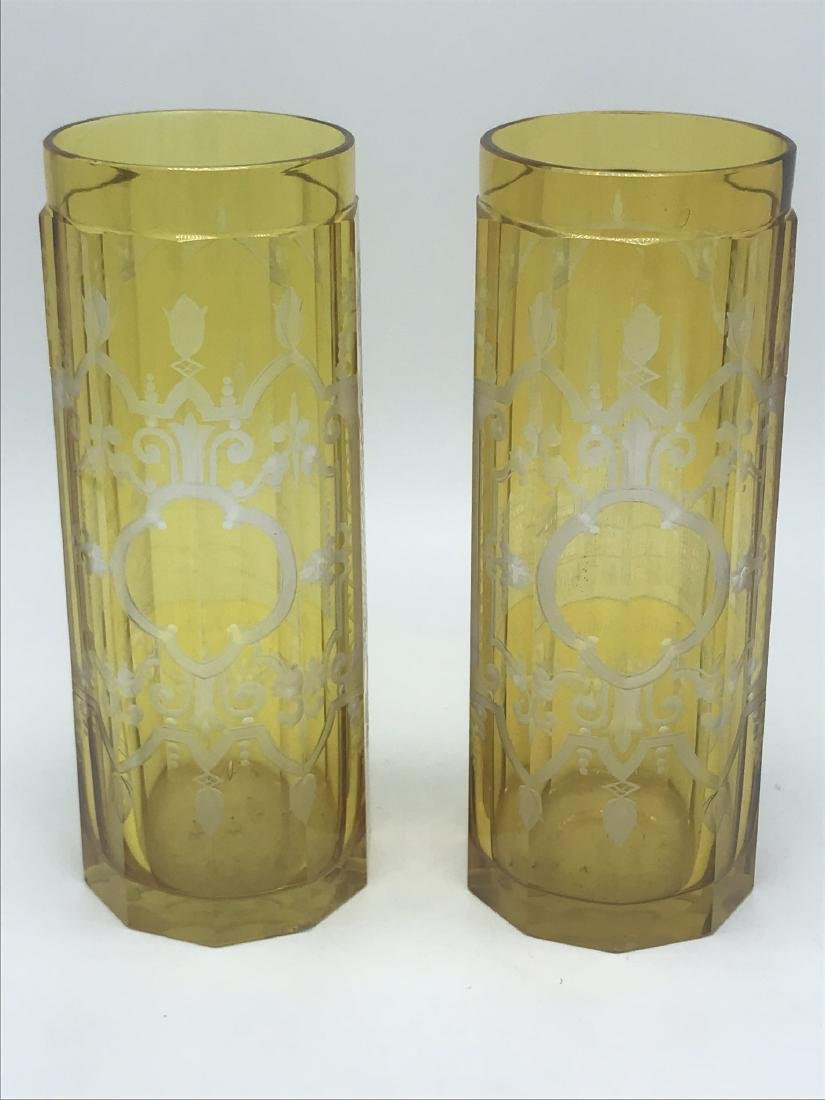 Austrian Glass Vases depicting Architecture - 2