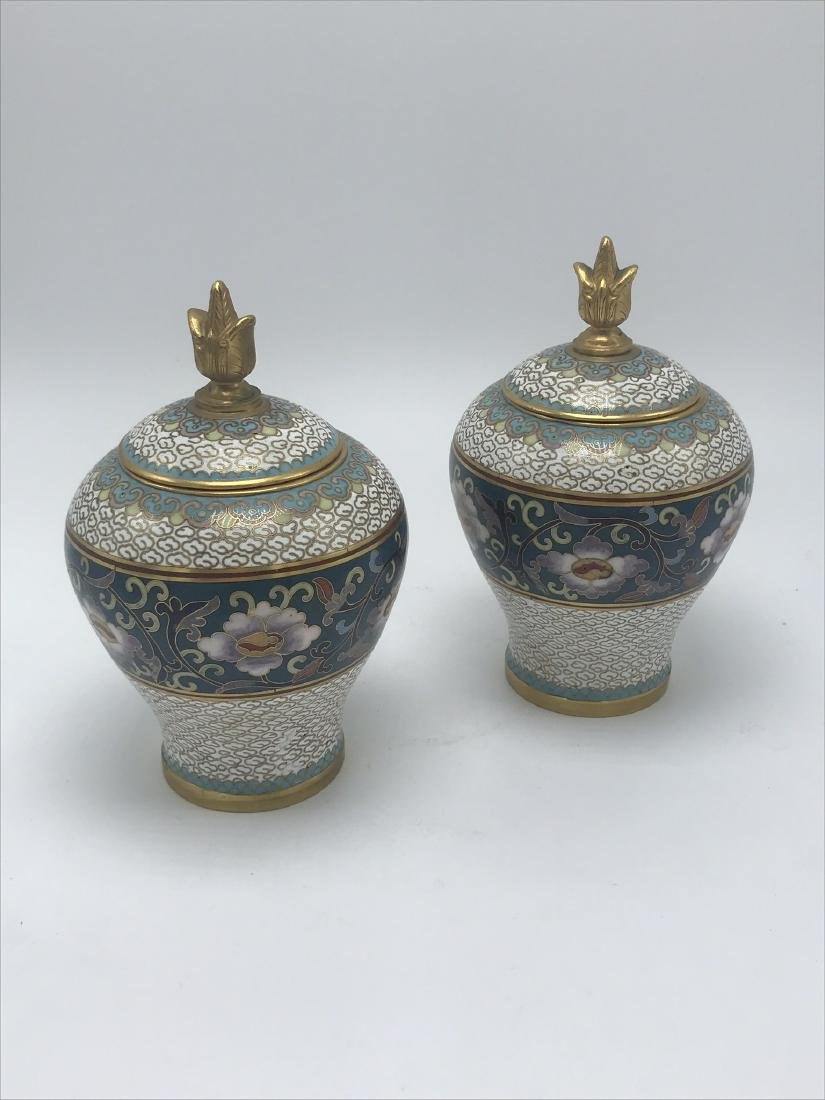 Pair of Miniature Cloisonee Urns