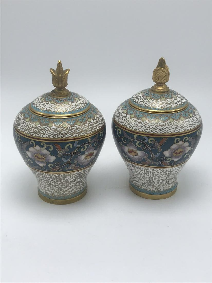 Pair of Miniature Cloisonee Urns - 2
