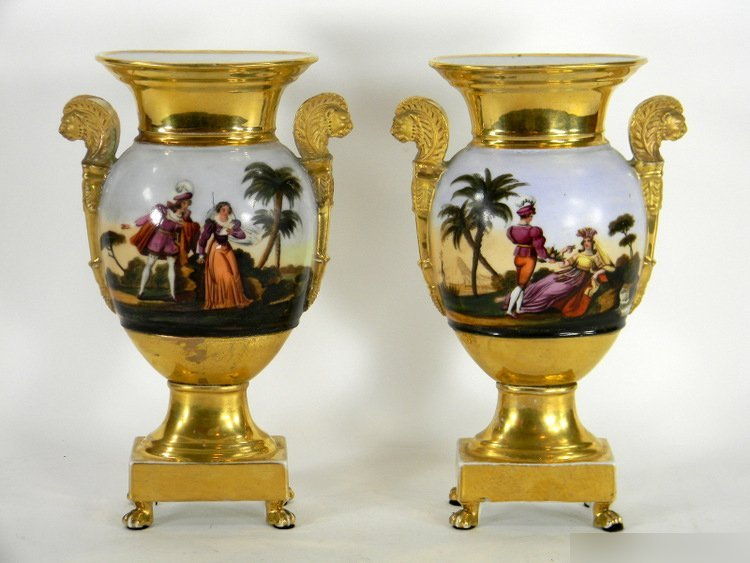 PAIR OF CHARLES X OLD PARIS URNS