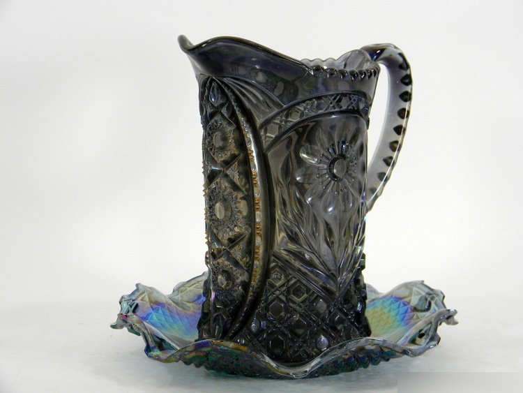 AMERICAN CARNIVAL GLASS PITCHER AND PLATE