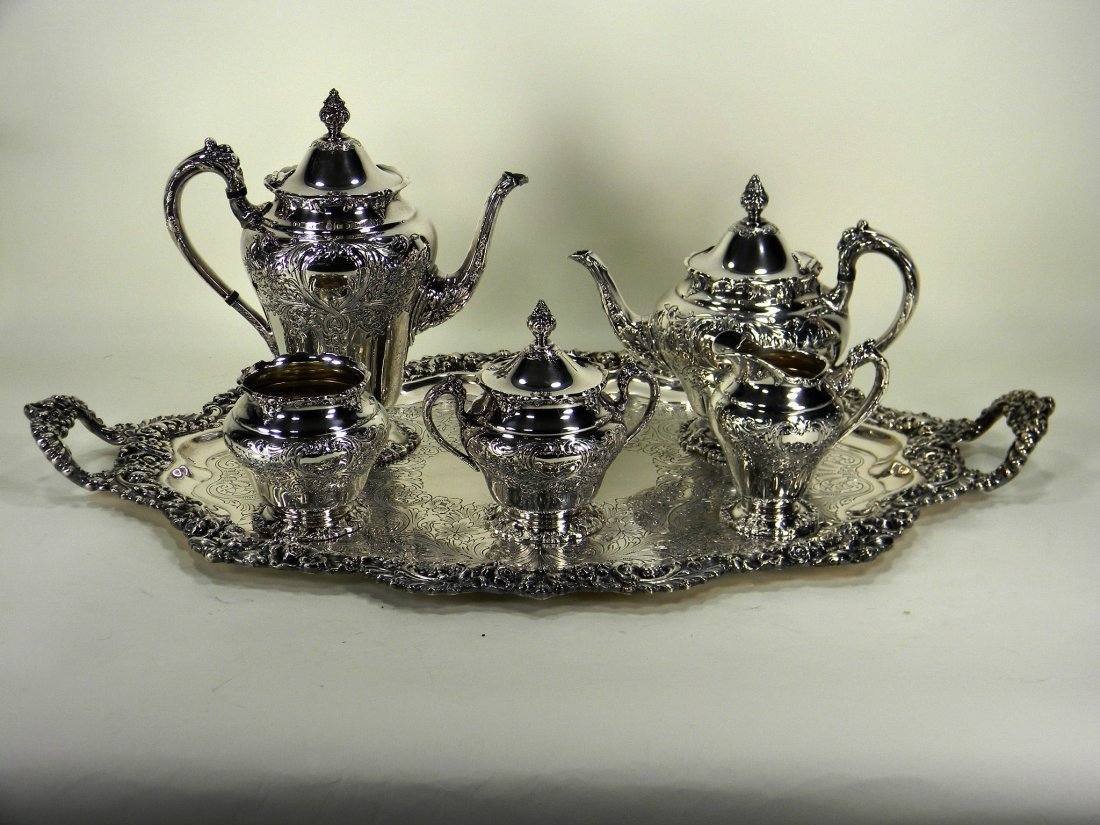 Reed and Barton silverplate silver service with tray