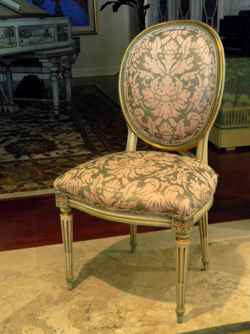 Set of 8 Louis XVI style painted dining chairs upholste