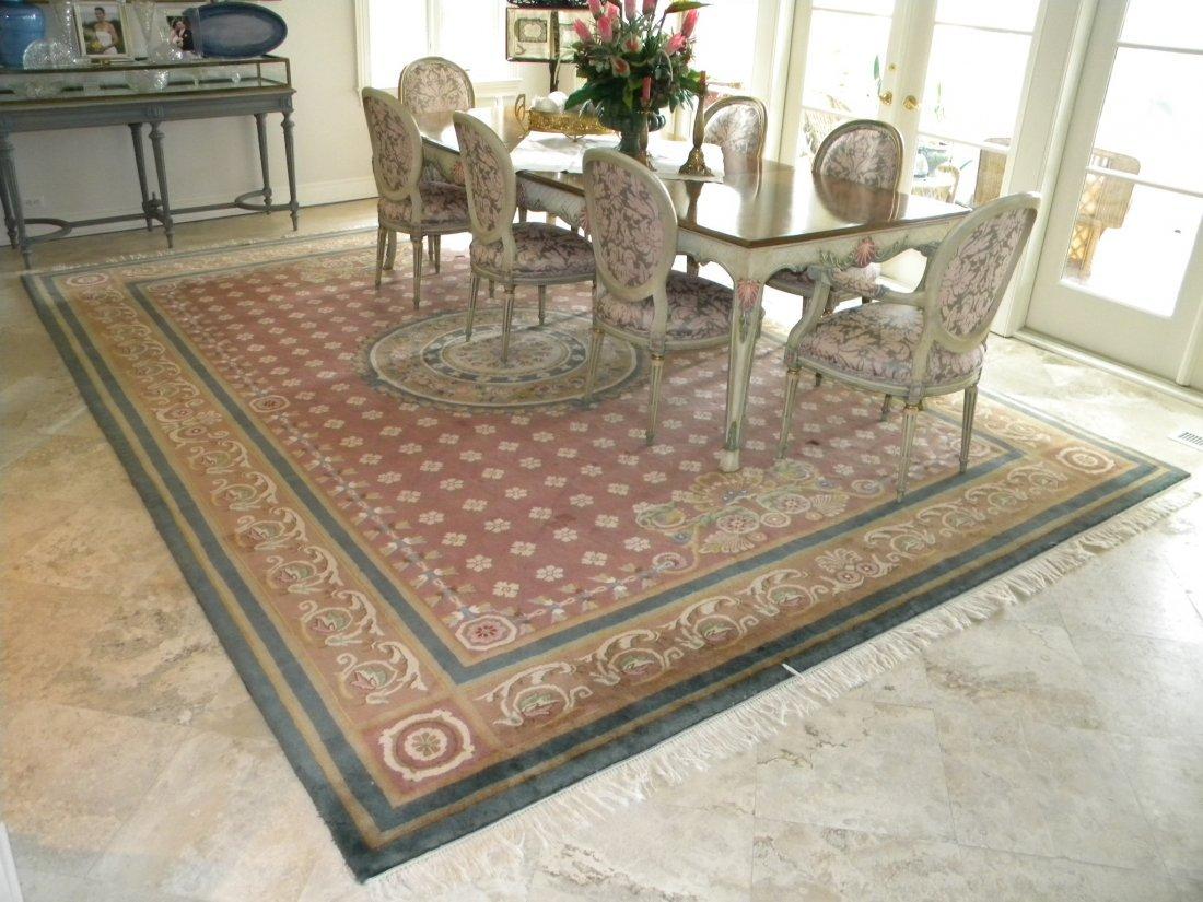 Empire style Savonnorie wool carpet in mauve, pinks. 10