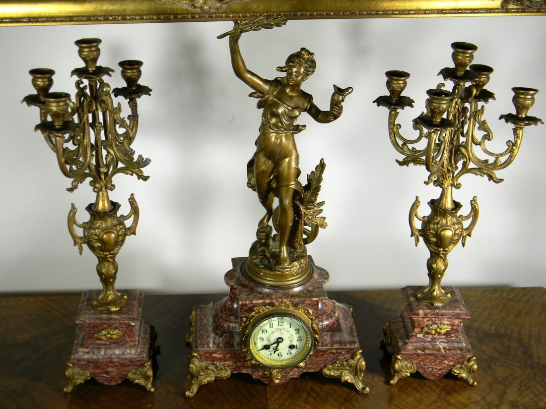 19th century metal and marble clock set with 2 candela