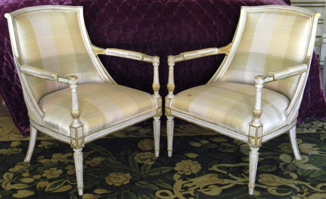Pair painted Continental armchairs.