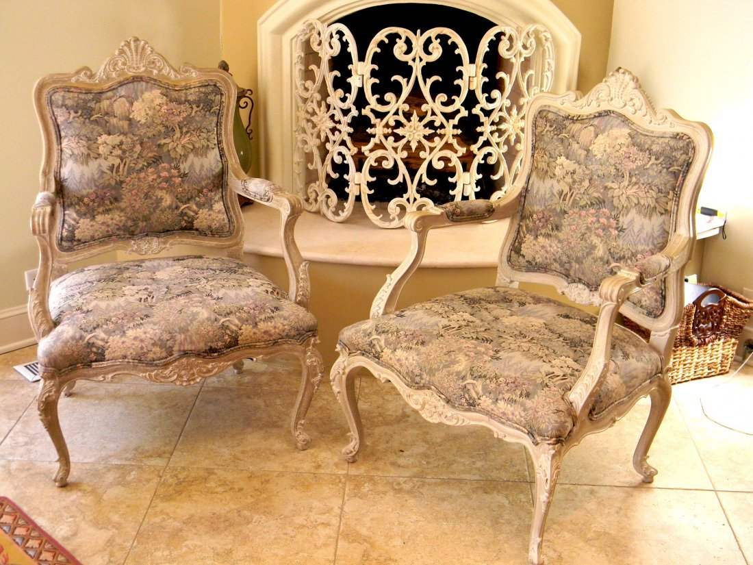 Pair of Louis XV style painted French armchairs in tape