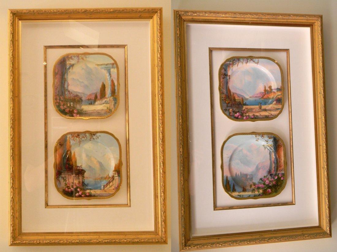 2 pairs of framed Limoge dessert plates.