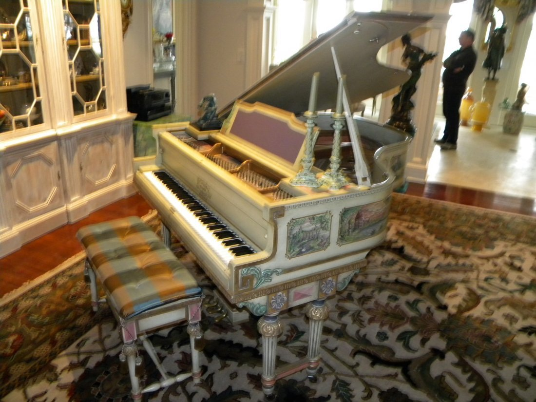 Antique hand painted baby grand piano by Mathushek