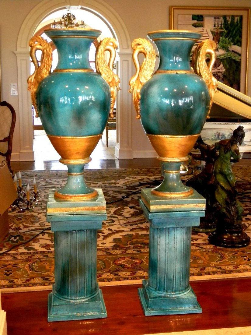 Pair turquoise Empire style ceramic urns with pedestals