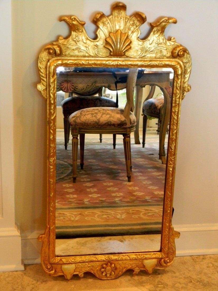 George III style gold leaf gilded mirror.