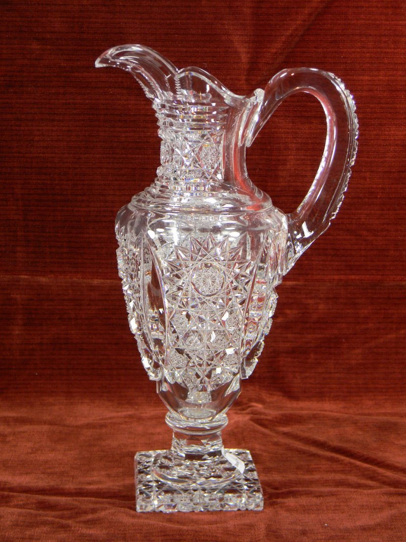 Brilliant cut crystal pitcher. 12-1/2""