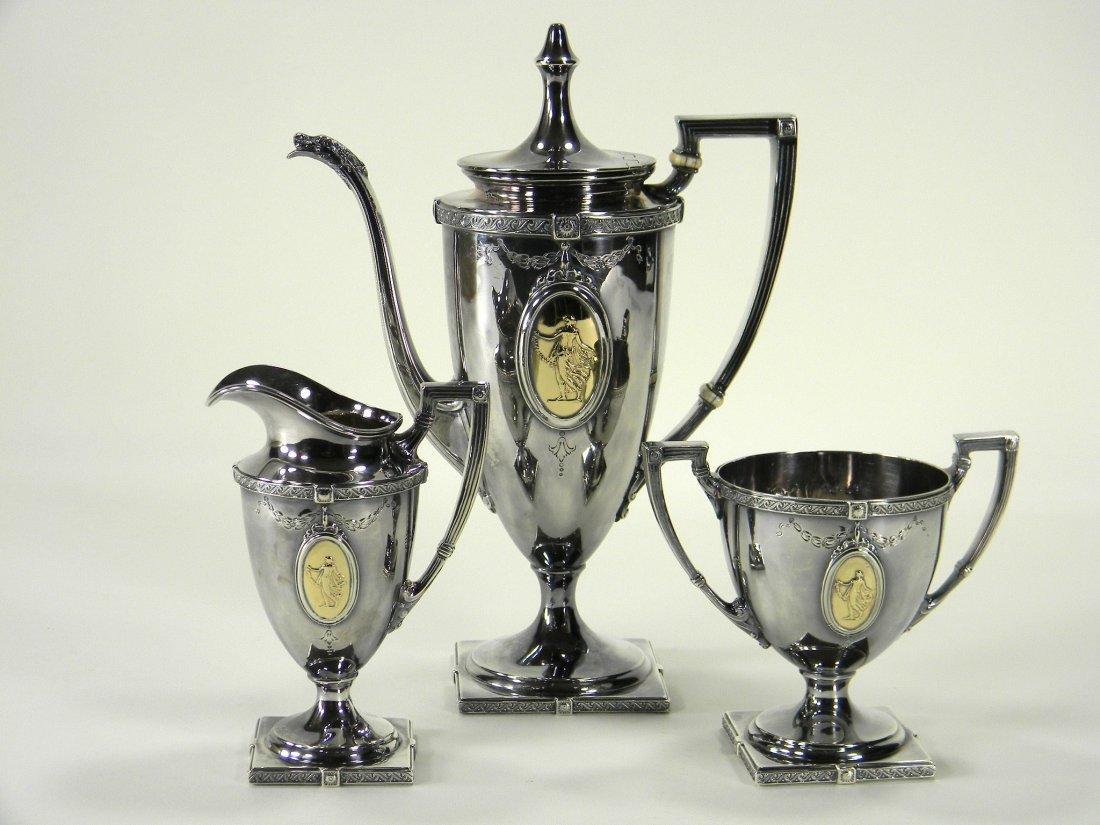 Sterling silver 3 piece demi tea set (1150 grams).