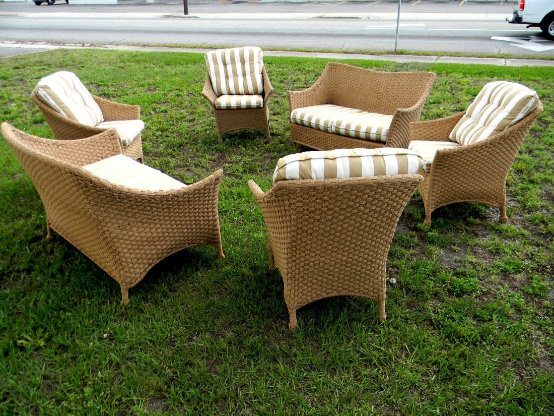 Six pc Set Woven Porch Furniture with Cushions.