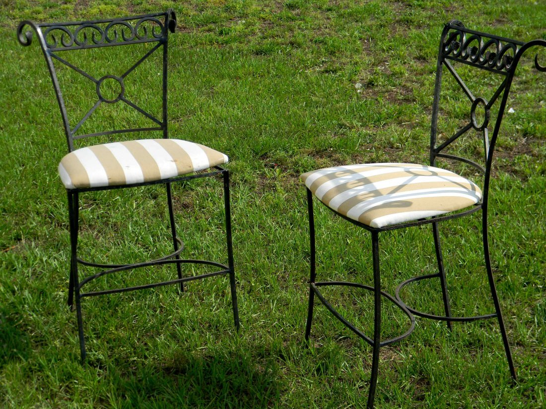 "Pair of Wrought Iron Stools. 40.5"" h x 20.5"" w."