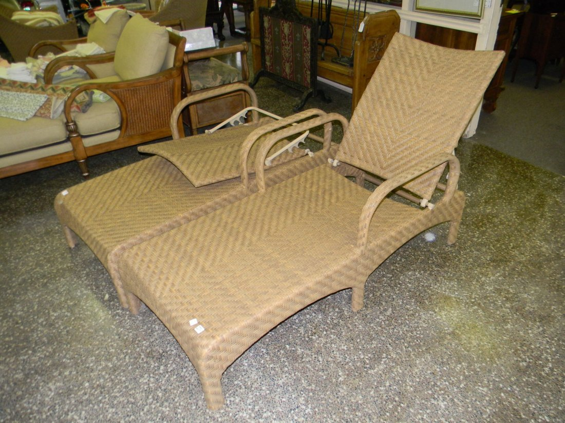 "Pair of Chaise Lounges in Woven Vinyl. 78"" long"