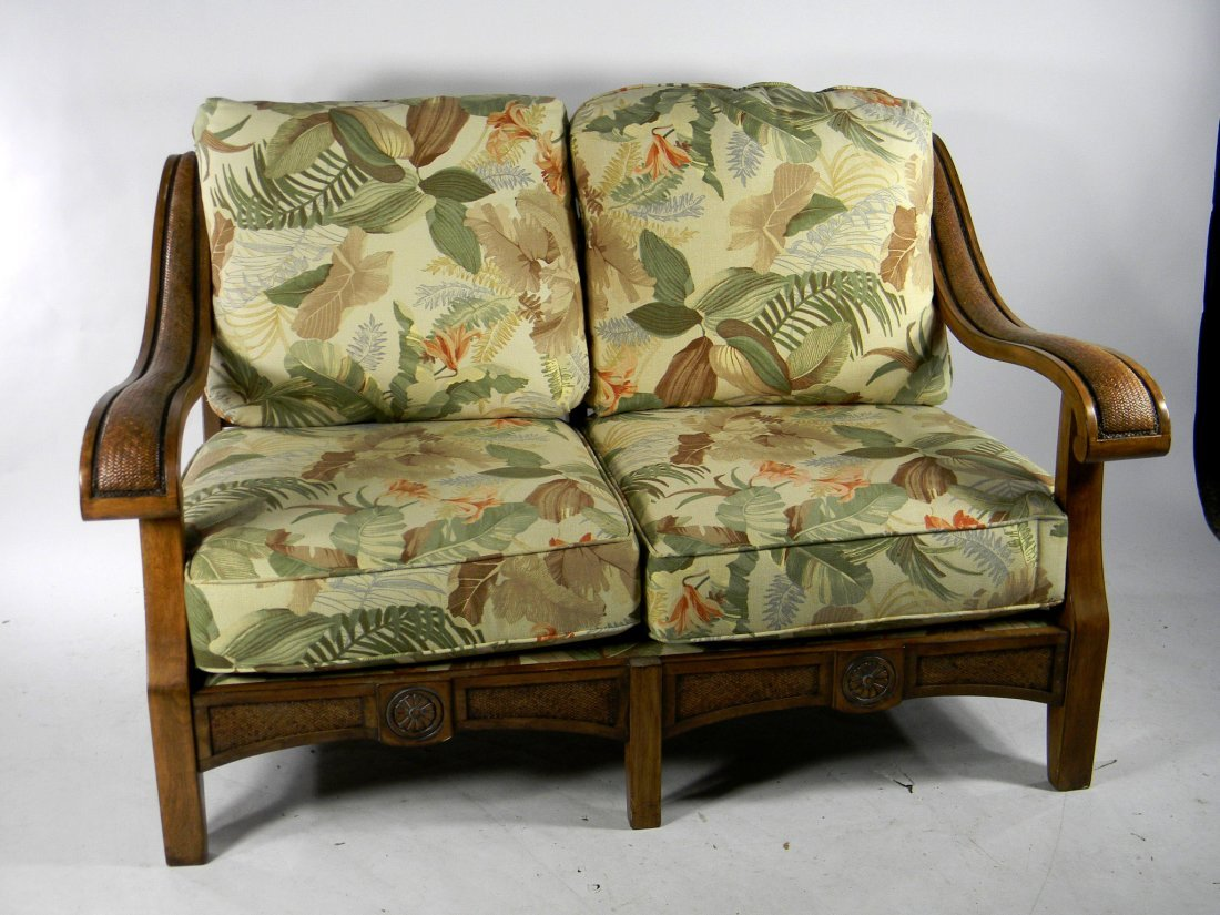 "Wood and Cane Two Seat Sofa. Floral Upholstery. 33"" h x"