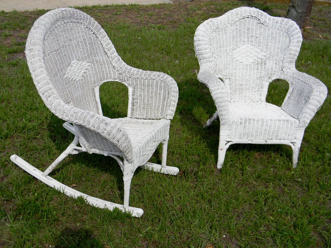 Pair of Vintage Wicker Chairs. 1 is a rocking chair
