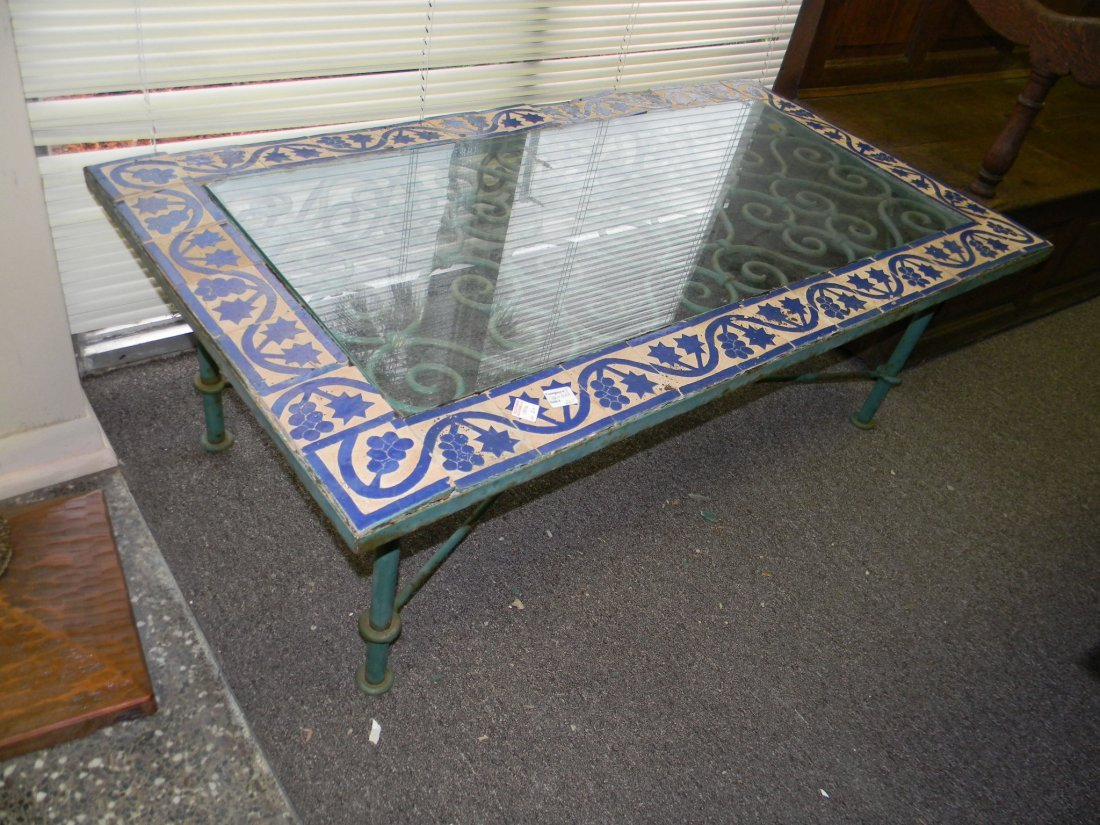 Iron and Tile Coffee Table, glass top. Needs