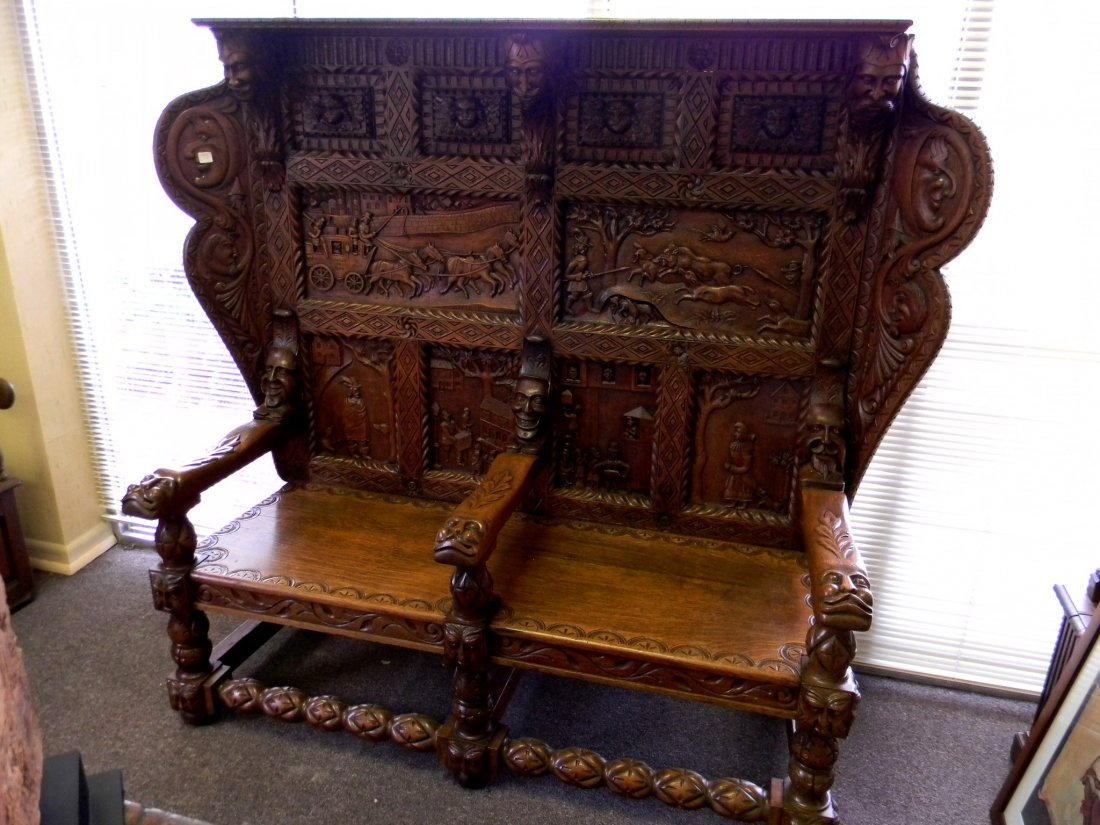 Heavily Carved English Oak Two-Seat Settle with