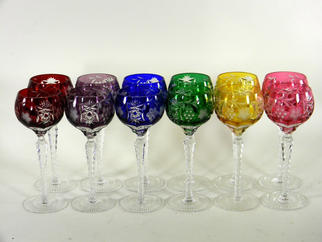 Set of 12 Bohemian Hock Wines in six colors. Hand cut.
