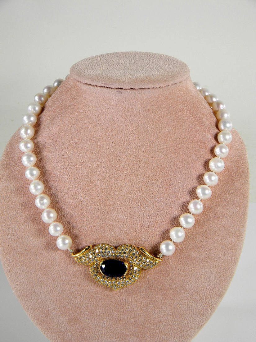 Pearl, Sapphire, and Diamond Necklace. 18K Yellow Gold