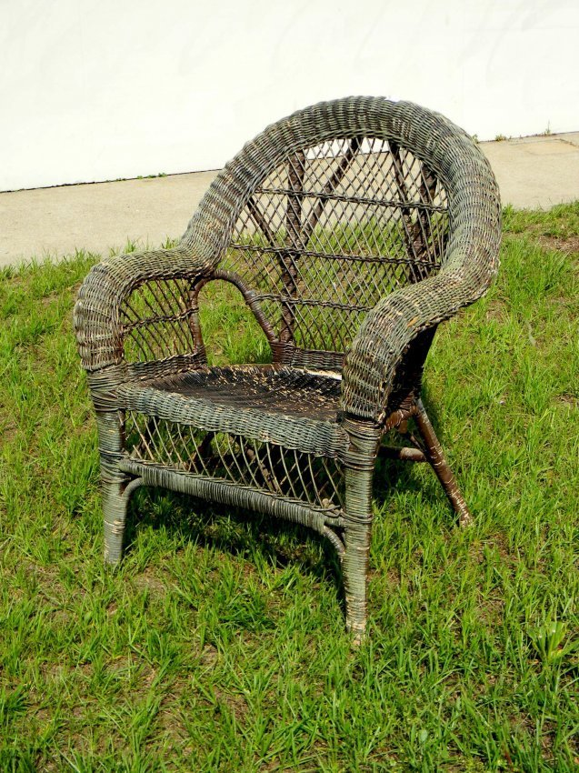 Green Wicker Armchair.