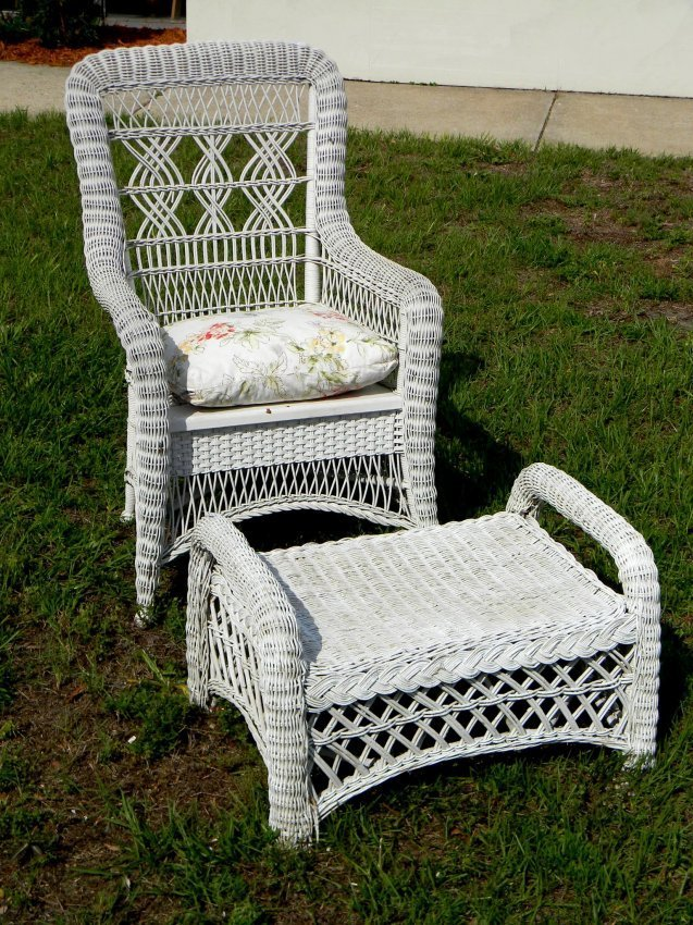 "Wicker Chair and Ottoman. Chair (40"" h)."