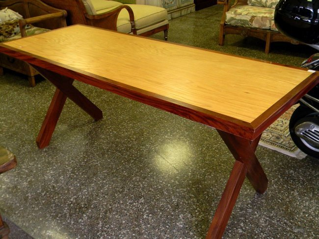 Mahogany and Oak Breakfast Room Table. X-form legs. 30""