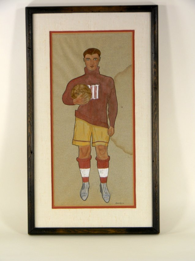 Framed Gauche Sketch of Soccer player dated 1908.