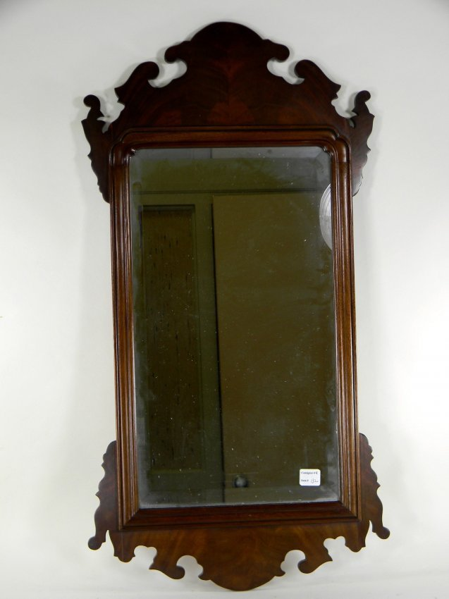 Chippendale Style Mahogany Mirror with beveled plate