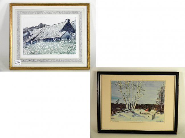 2 pcs Framed Art. Framed Engraving by Pamela Hughes of