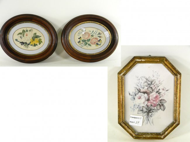 3 Framed Still Lifes. Pair 19th century Gauche and