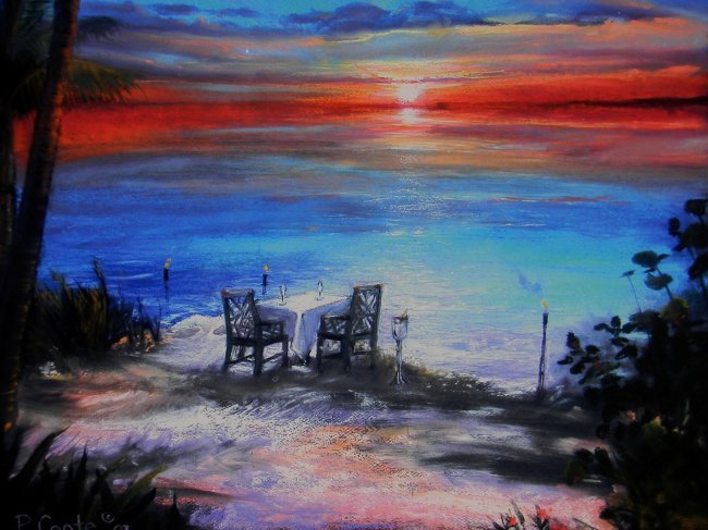 "Framed Art by P. Coote. Sunset on the Beach. 24"" w x"