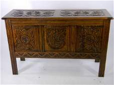 Oak Lift-Top Storage Chest with heavy carving. Medieval