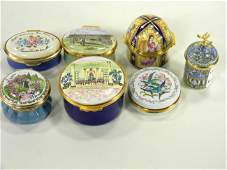 Lot of 7 English enamels, one is clock/music box.
