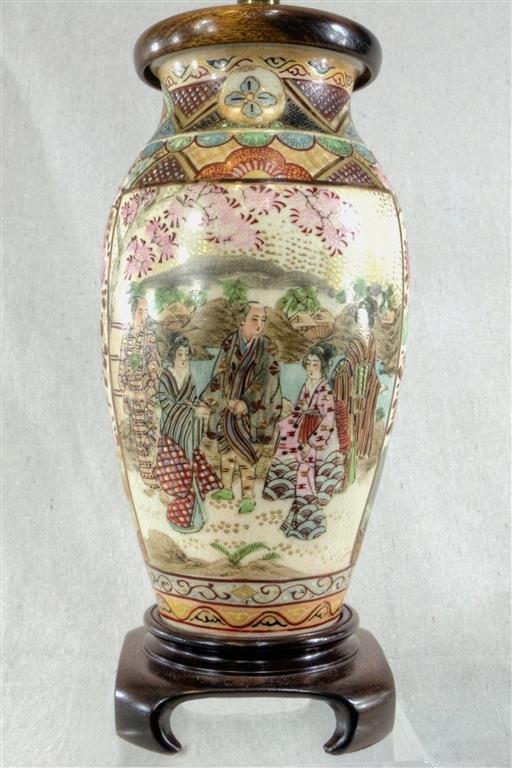 "Japanese Satsuma Vase mounted as lamp. 17"" overall. Ca."