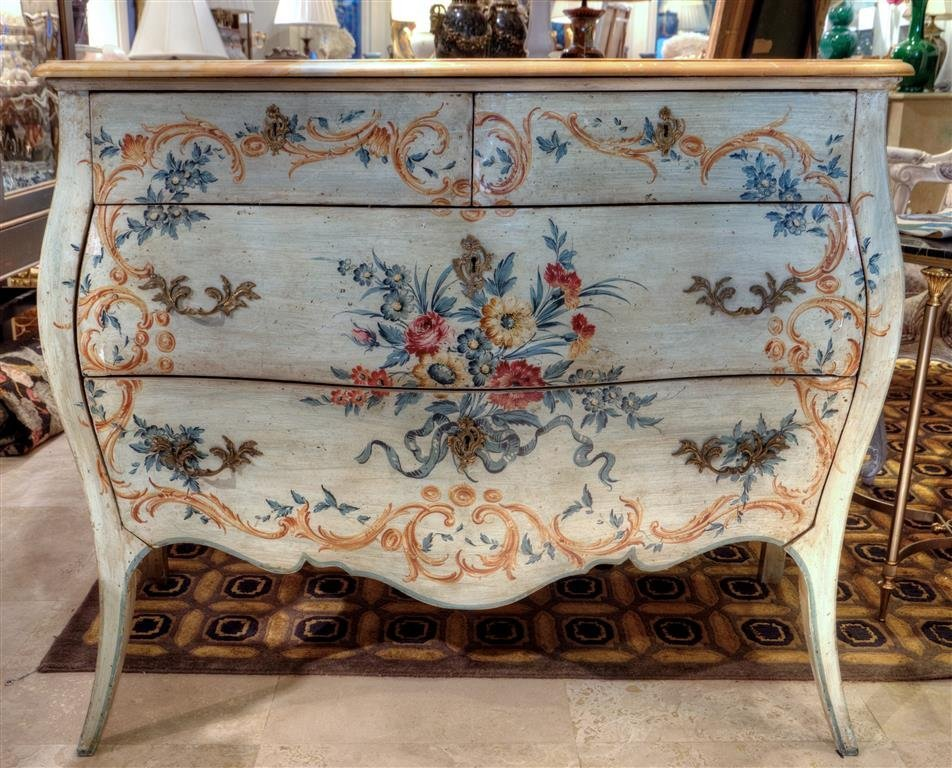 Julia Grey Painted Louis XV style marble topped commode