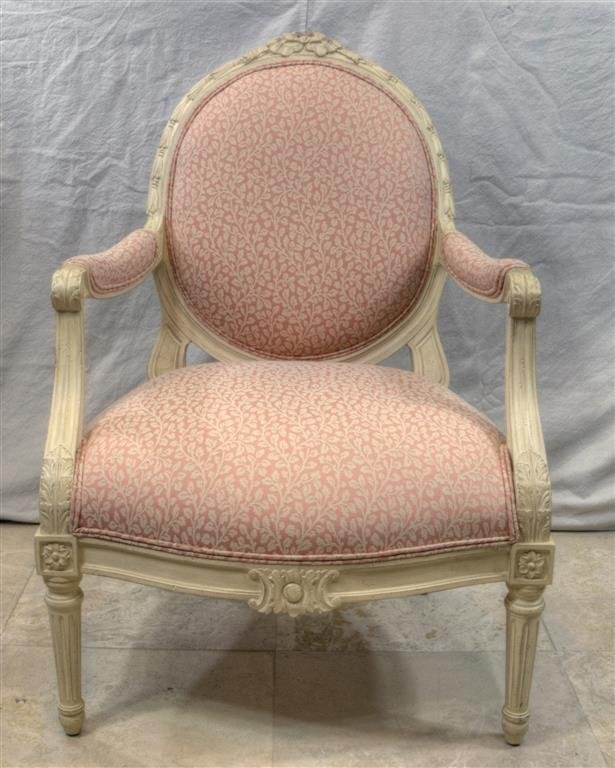 Louis XVI style upholstered French Chair