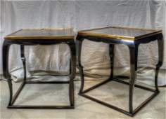 Pair of Black Lacquered and gold leaf Sofa tables by