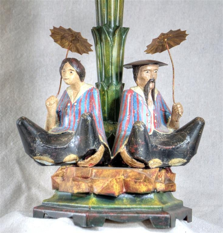Pair of painted Tole Chinoisere lamps, probably