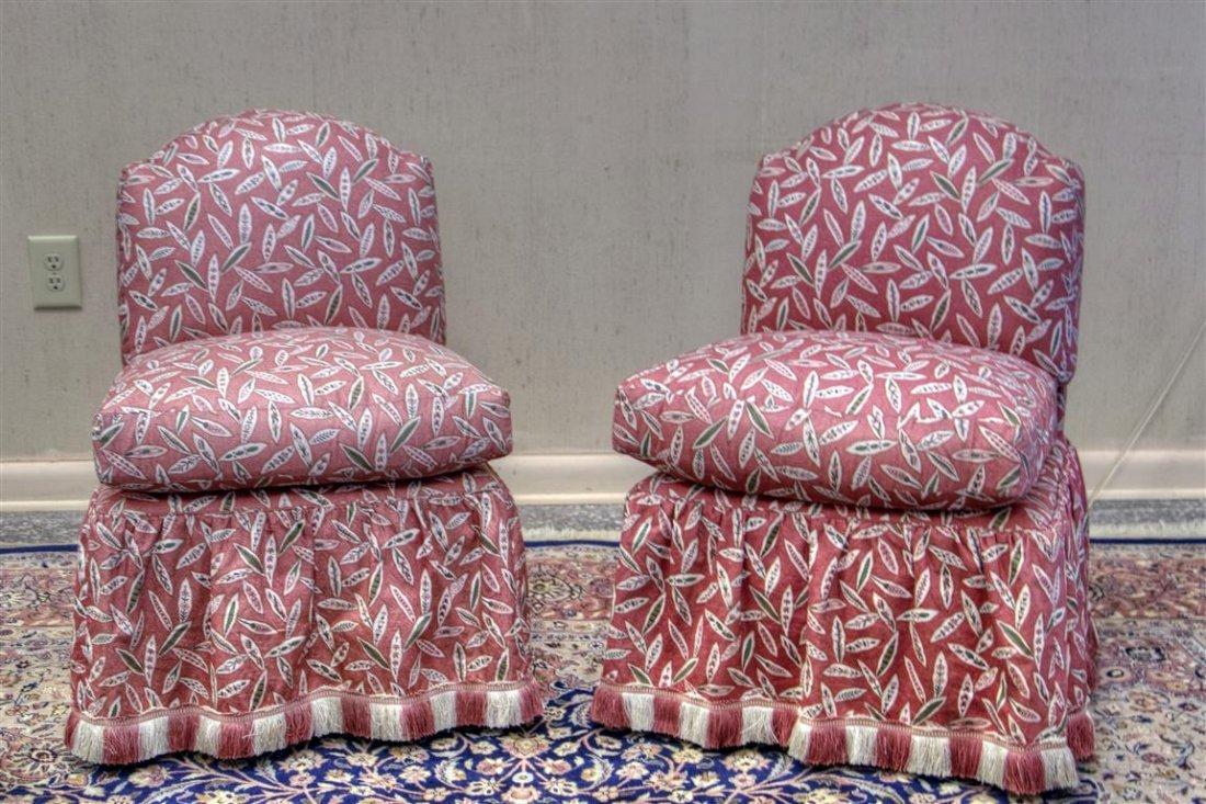 "Custom Pair of red slipper chairs. 30""H X 20""W x 20""D"