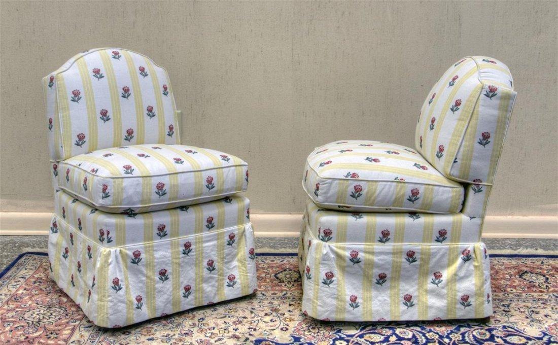 "Custom Pair yellow slipper chairs.  30:H X 20""W X 20""D"