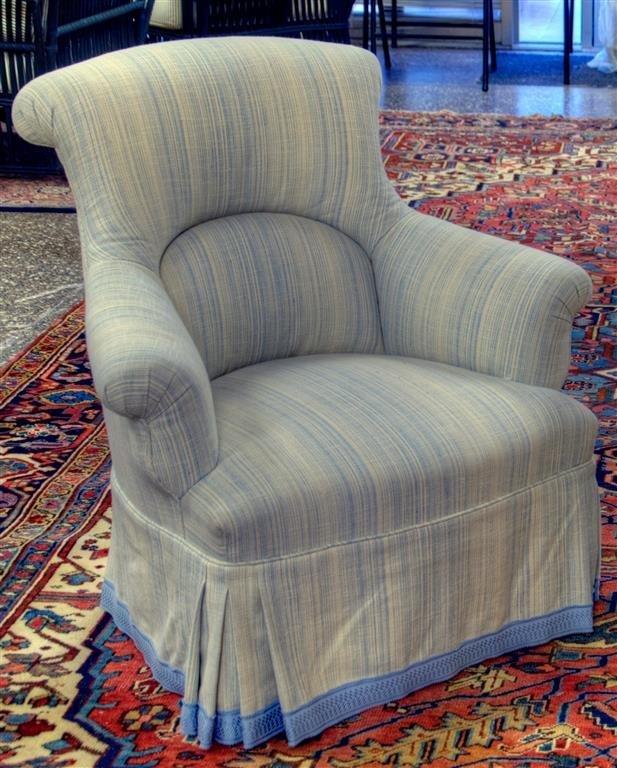 "Custom Ladies blue club chair. 32""W X 32""H X 29""D"