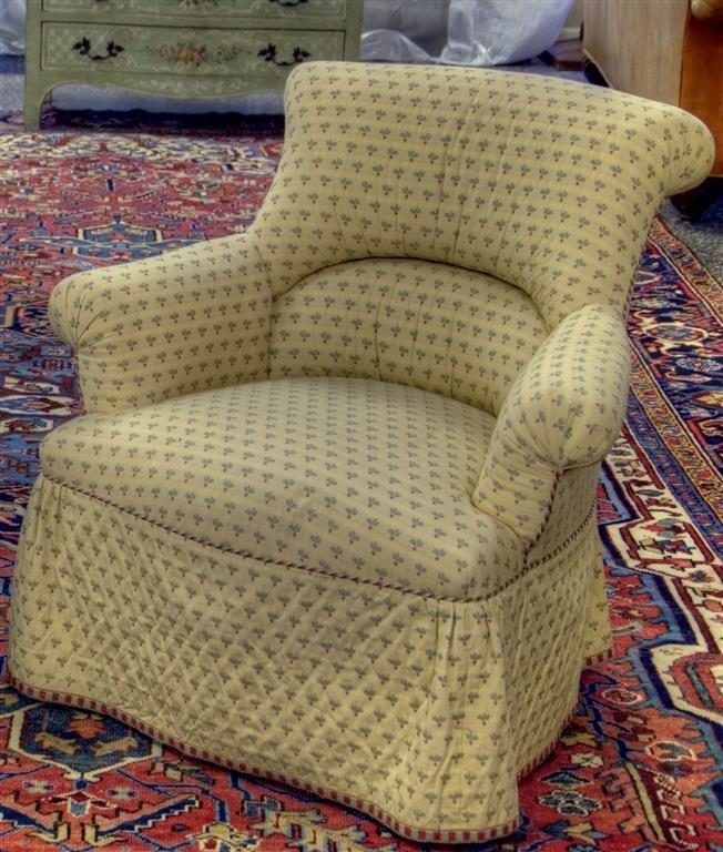 "Custom Ladies yellow club chair.  32""W X 32""H X 29""D"