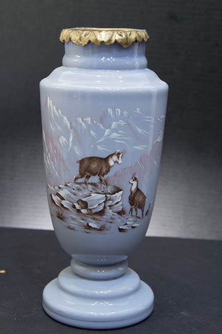 Lavender Glass Vase with enamel painting of Mountain