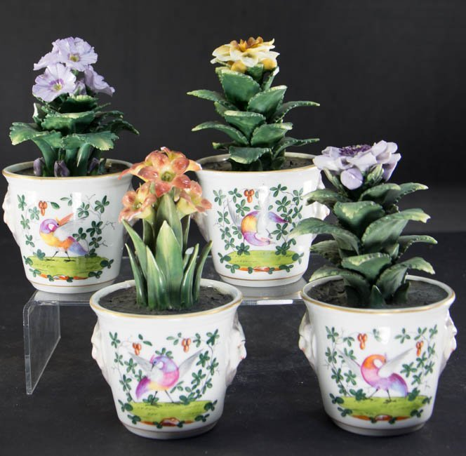 Set of 4 Italian Porcelain Potted Flowers from Gilman