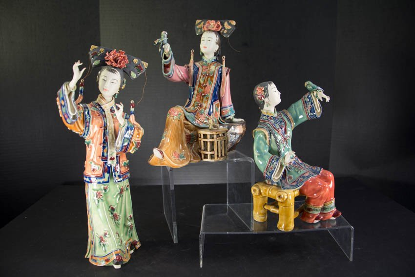 20th century 3 Chinese Earthenware Maiden Figures