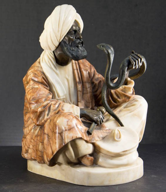 Bronze and Alabaster Sculpture of a Snake Charmer,