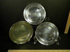 3 International Sterling Bread Plates